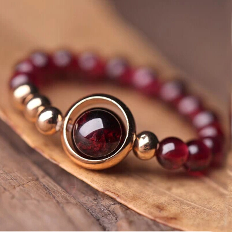 2015 Genuine Gold Bead Lover Rings Women Vintage Rings Natural Garnet CARTER Rings Handmade Women Rings Jewelry Accessories(China (Mainland))