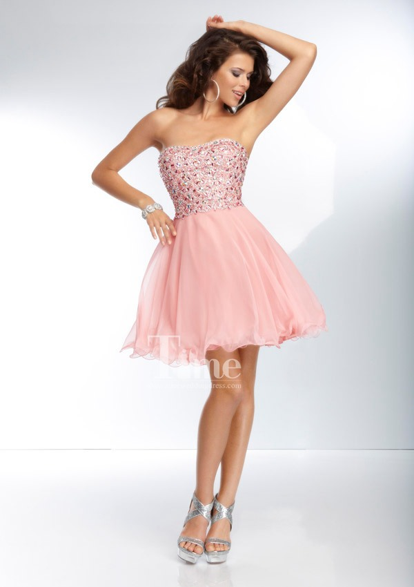 Blue And Pink Short Prom Dresses