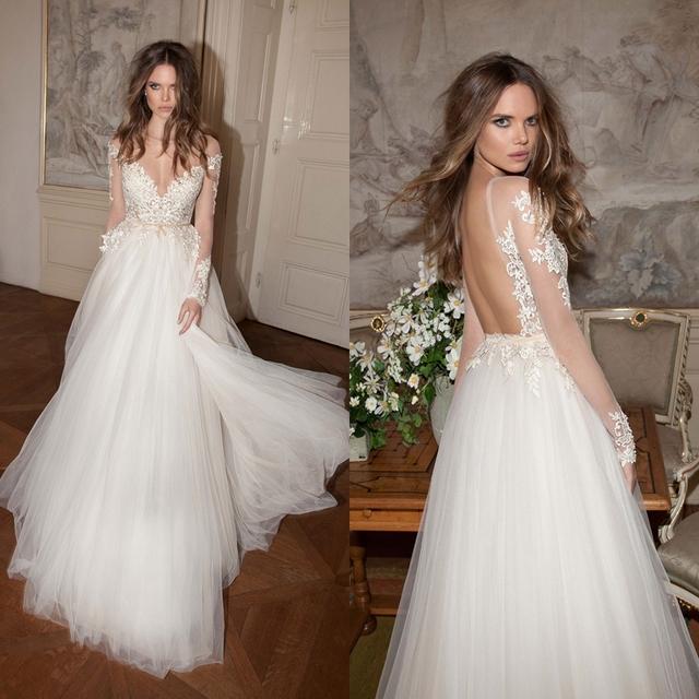 Платье-линии длинные рукава чистой v-образным вырезом аппликации кружева свадебное ...