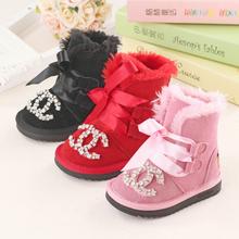 2015 hiver nouvelles filles de la mode bottes en cuir véritable en daim rose parti mignon plat princesse bottes de neige Super doux et confortable(China (Mainland))