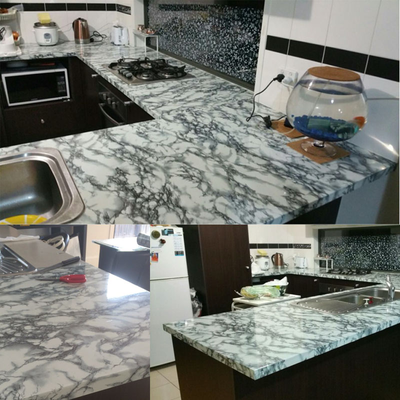 4FTX33FT/ 1.24M X 10M Marble Waterproof Vinyl Self Adhesive Wallpaper  Sticker Modern Contact Paper For Kitchen Cupboard