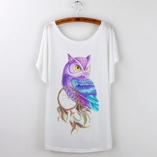 Owl Animal Print Harajuku 2016 Loose Tshirt Women T-shirt Summer Ladies Tops Short Sleeve O-neck Casual Tee Shirt Female White(China (Mainland))