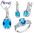 Almei Sapphire Jewelry Set 925 Sterling Silver Zircon Bijoux Cute Turtle Red Crystal Wedding Accessories Party
