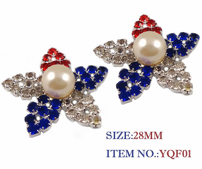 Free Shipping 28mm 100pcs/lot, Flat Back BUTTON Star Shape Crystal Emellishment Silver American Flag Design (YQF01)(China (Mainland))