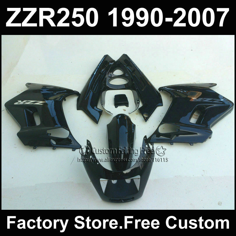 ABS plastic motorcycles fairings kit for Kawasaki ZZR-250 ZZR250 1990 1992 2007 ZZR 250 90-07 black body repair fairing parts(China (Mainland))