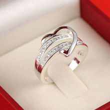 1 X Newest Fashion Women Jewelry Silver Plated Bling Heart Love Women Wedding Ring Size 6 7 8 9 Christmas Gift(China (Mainland))