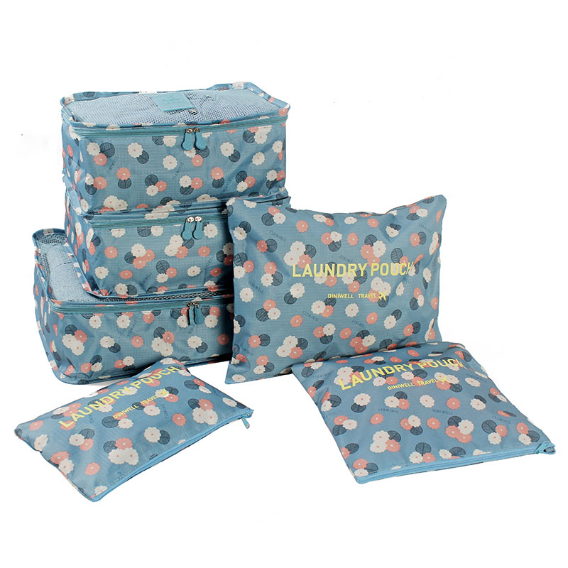 6 PCS Polyester Travel Storage Bag Set For Clothes Tidy Organizer Packing Cubes Laundry Suitcase Closet Divider Container(China (Mainland))