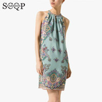 Sexy Women Dresses New O-Neck Off The Shoulder Chiffon Summer Beach Dress MINI Straight Floral Print Blue Dress Vintage Vestidos