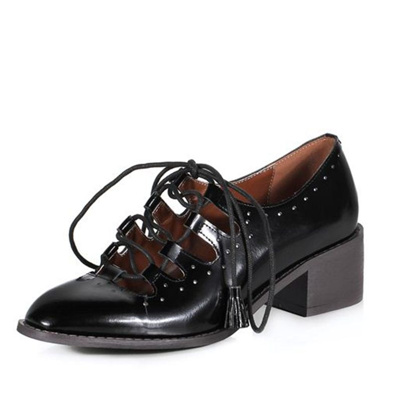 hot style pumps high heels shoes black colour woman round toe patent real leather sweet fashion patry