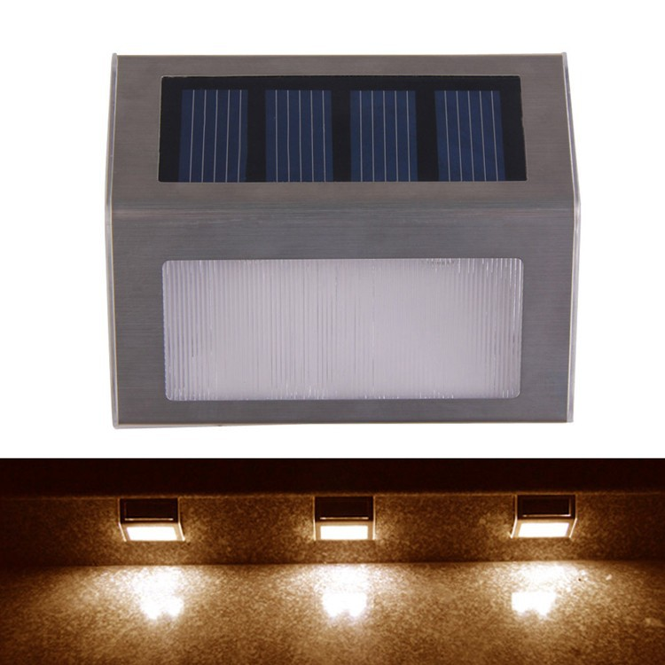 Solar Power 2 LEDs Outdoor waterproof Garden Pathway Stairs Lamp Light Energy Saving LED Solar wall Lamps Warm White Cold white