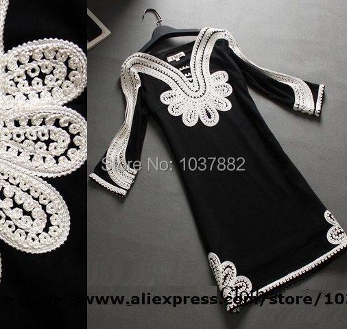Spring Vintage dress 2016 new Spring High embroidery Clothes fashion women Winter Dress plus size XL XXXL casual dresses
