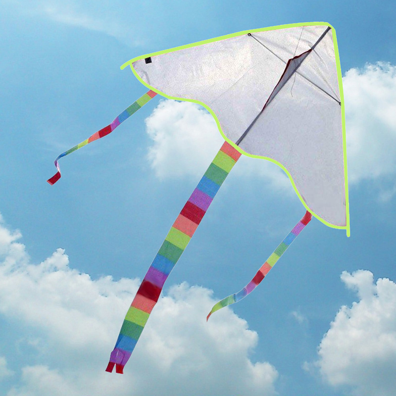 Hot Sale DIY Triangle Kite Blank Painting Kite Outdoor Funny Kid Toys Flying Polyester Kite Without Handle Line and Pigment(China (Mainland))