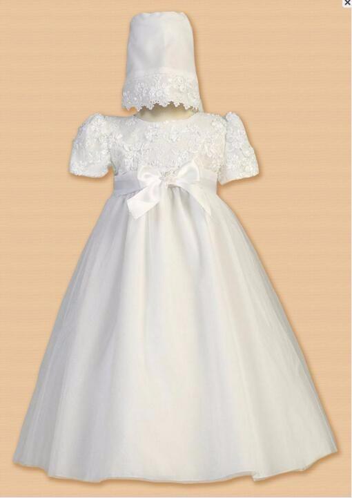 Скидки на Винтаж мягкая фамильные новорожденных крещение платье белого цвета слоновой кости крещение платье девочка мальчик кружева халат пояса 0 - 24 мес.