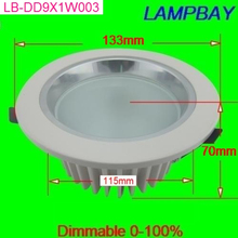 9w LED dimmable downlight ceiling lamp recessed bulb white appearance high quality high lumens down light two years warranty(China (Mainland))