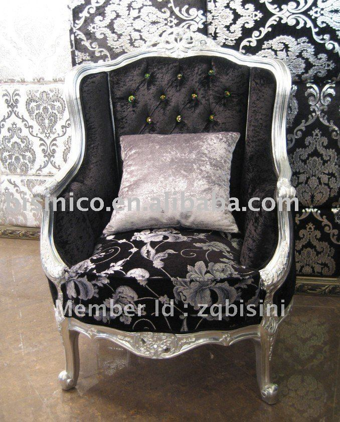 Classical Living room single sofa, wing chairs, white & black color, wooden frame,MOQ:1PC(China (Mainland))