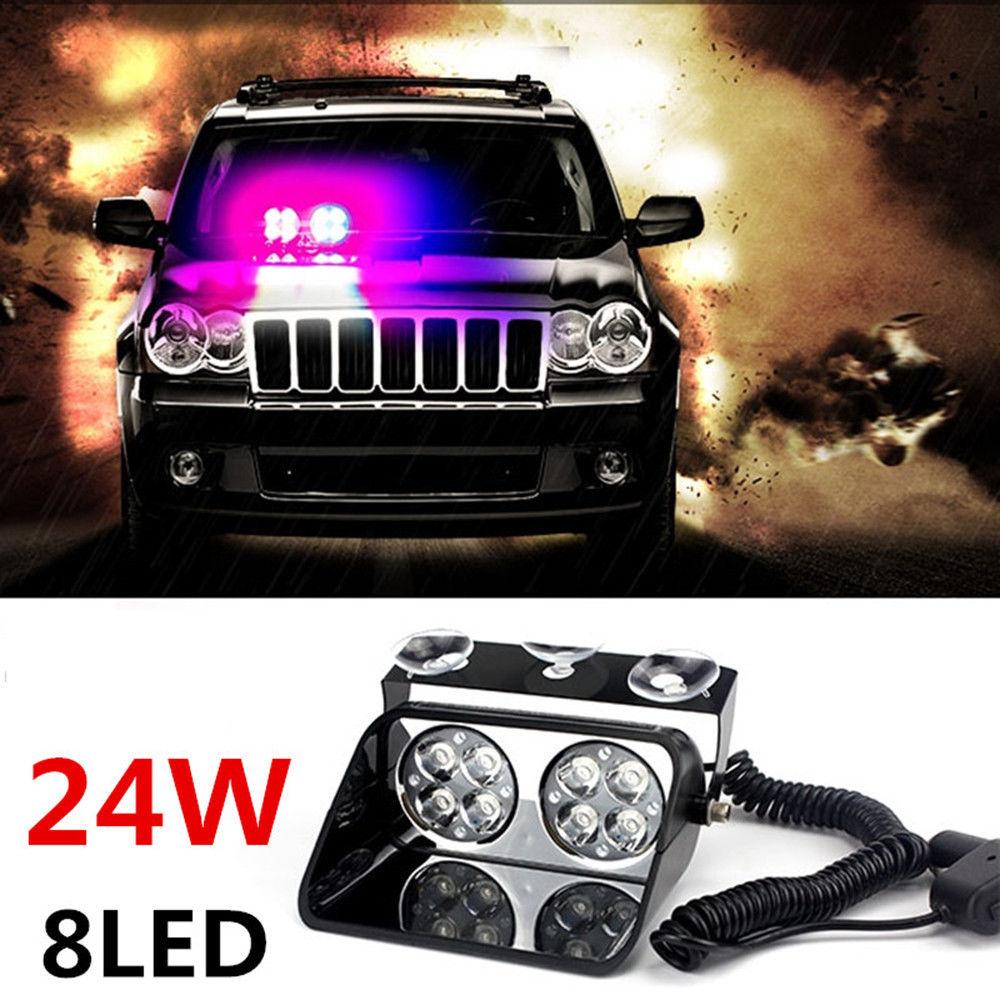 Car 8 LED Red Blue Police Strobe Flash Light Dash Emergency Flashing Light 24W(China (Mainland))