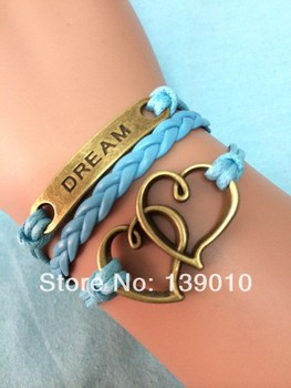 Free Shipping!3PCS/LOT!Wholesale Retro Alloy Letter DREAM Heart Charm Bracelet Unique Men Custom Wristband Hand Jewelry S-071
