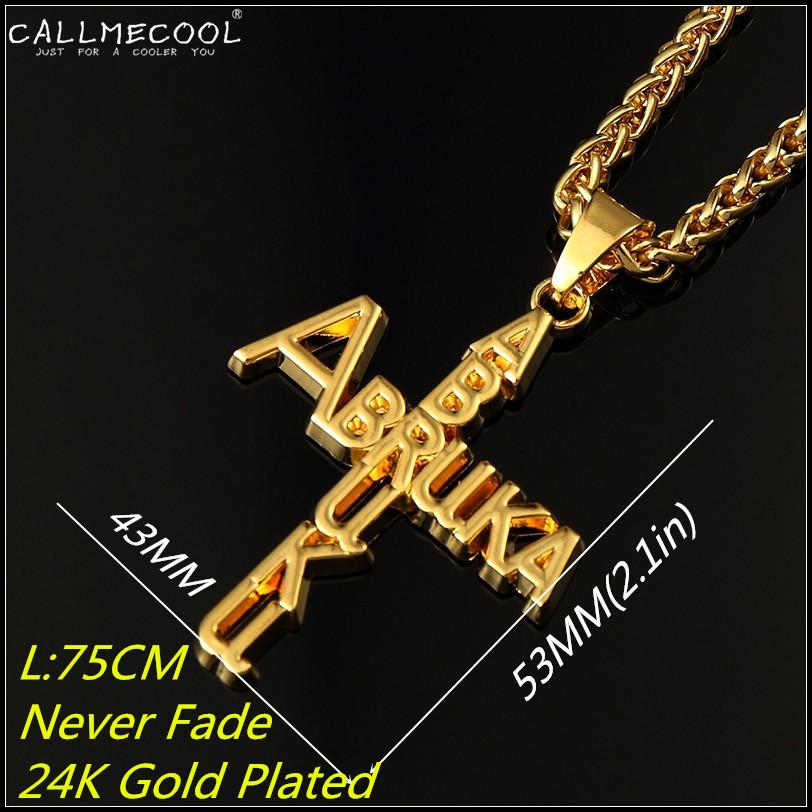 2015 fashion 24K Gold Plated Necklace Abruku Abruka Cross Letter Pendant Basket Chain hiphop Jewelry punk for men women gift(China (Mainland))