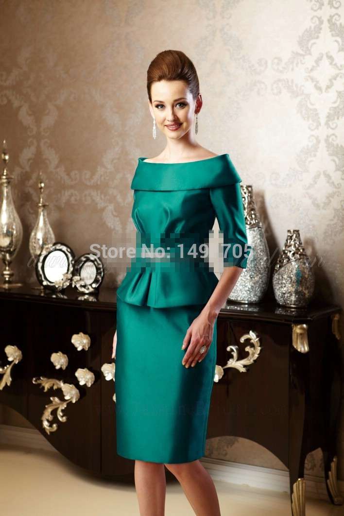 Pleated beaded knee length satin mother of the bride dresses in mother