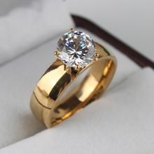 6mm Light Zircon CZ 18k gold plated 316L Stainless Steel finger rings men women jewelry free shipping wholesale lots