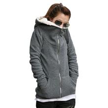 Plus 7 Sizes S-4XL Women Ladies 2015 Winter Warm Zip Up Thick Fleece Black/Grey Outerwear Hooded Sweatshirt Hoodies Coat Jacket(China (Mainland))