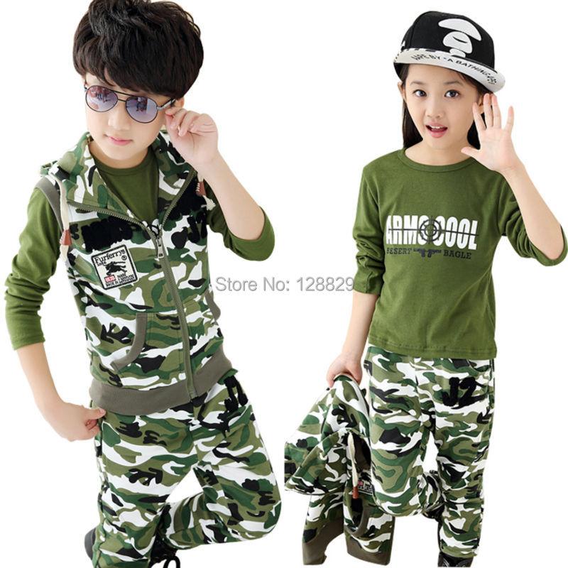 Autumn Children Clothing Sets Fashion Camouflage Clothes Long T-Shirt & Pants & Vest 3 Pieces Sets Sports Suits For Boys & Girls(China (Mainland))