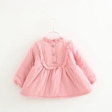 children outerwear plus Velvet fleece Thicken dresses Winter Beaded Ruffles baby infant children's Girls dress vestidos S2595(China (Mainland))