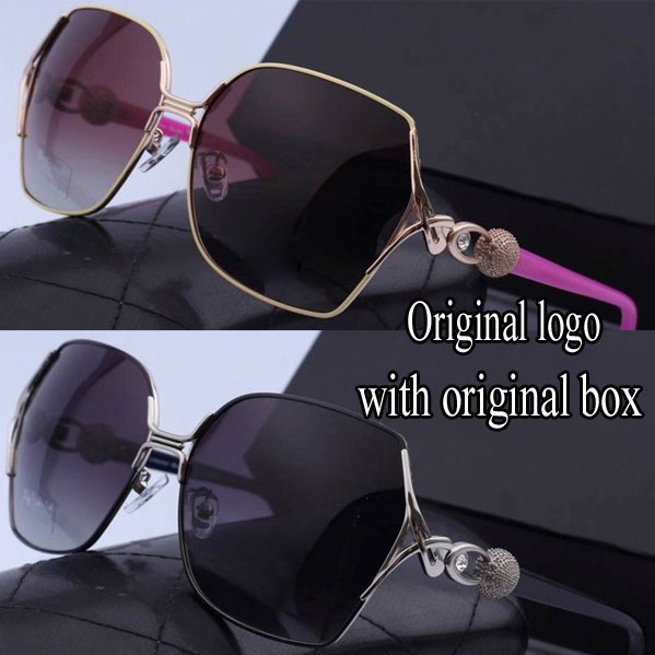Exquisite polarized sunglasses Brand designer Elegant luxury sunglasses women Diamond alloy big frame Resin lenses eyewear c(China (Mainland))