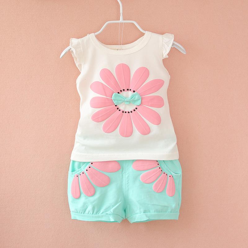 BibiCola fashion toddler baby girls summer clothing sets bow sunflower girls summer clothes set kids casual sport suit set(China (Mainland))