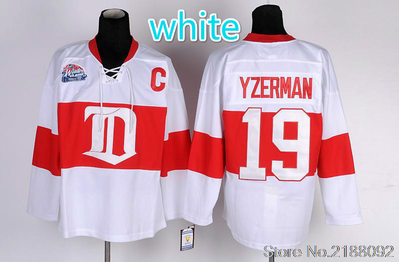 #19 Steve Yzerman Jersey Home Red White Embroidery Ice Hockey Jerseys(China (Mainland))
