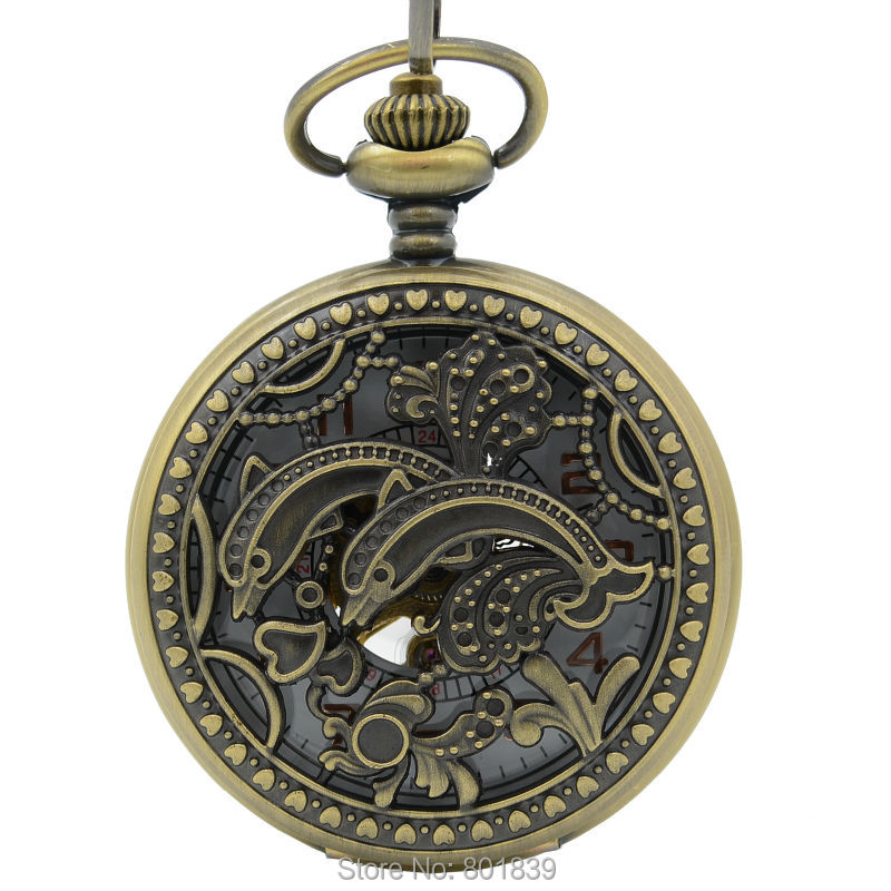 engraved pocket watches for men promotion shop for promotional vintage double fish engraving hand wind mechanical skeleton white dial retro mens pocket watch for h317