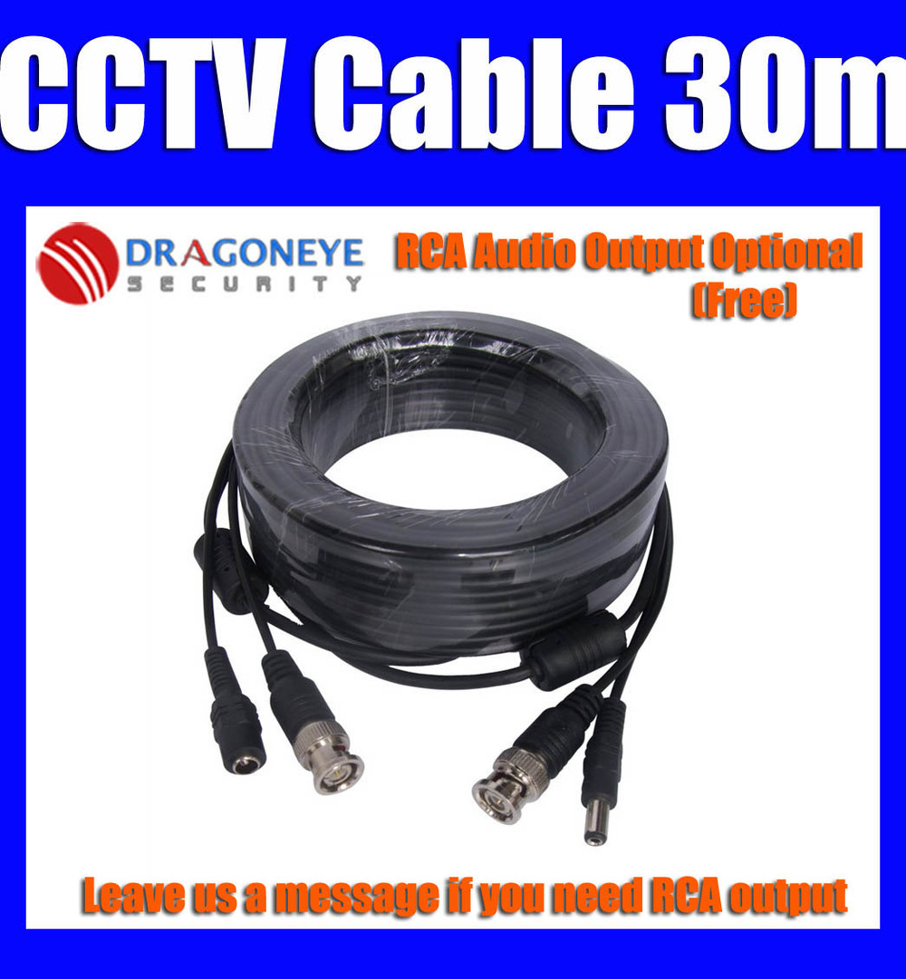 100ft 30m CCTV Cable 30M BNC + Power 30 meters BNC Cable for CCTV Camera System RCA Audio Optional Free(China (Mainland))