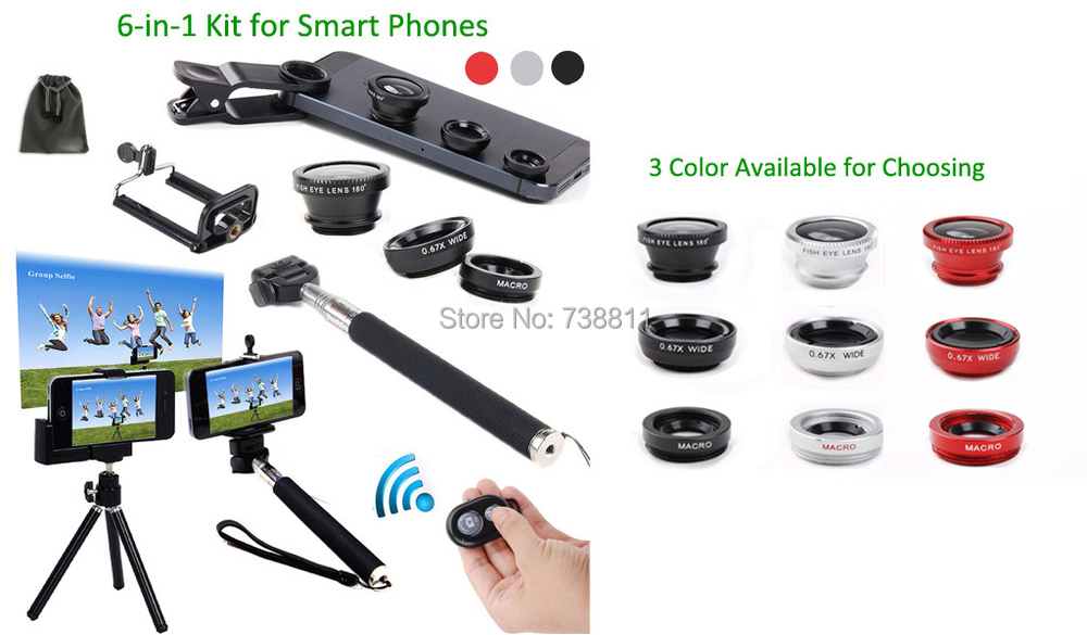 For Samsung S6/S5/S5MIN/S4/NOTE4/3/2/S3 Bluetooth Shutter Remote Control+Tripod Mount+Selfie Stick Monopod+SmartPhone Lens Kits(China (Mainland))