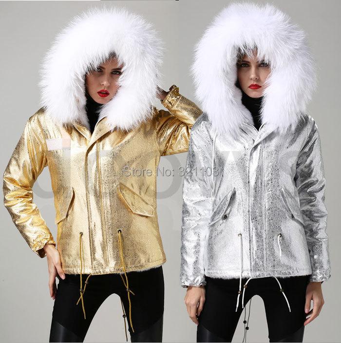 2015 Mrs Winter Jacket Short Style Large Raccoon Fur Collar Slim Warm Hooded Coat GOLD sliver leather faux fur - foxfurs store