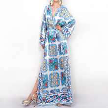 New arrival 2016 spring summer brand fashion women porcelain print dress long maxi side slit bow waist casual dresses gown robe(China (Mainland))