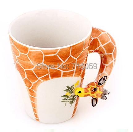 Free Shipping Hand-Painted Ceramic Cups 3-D Animals Designs Coffee Mug Cup Good Gifts Giraffe(China (Mainland))