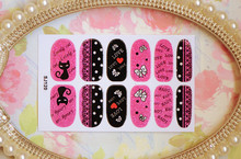 New fashion Style glitter cat design 12pcs pack Beauty Nail Art stickers decorations full cover nail
