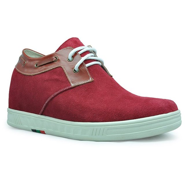 9095-Red suede elevating sneakers, sporty lift height shoes - 4  colors available-free shipping to USA\UK
