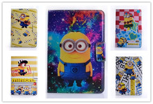 Anime Cartoon Despicable Me Minion Flip Wallet Stand PU Leather Case Cover Protector Defender For Apple Ipad mini mini2 mini3(China (Mainland))