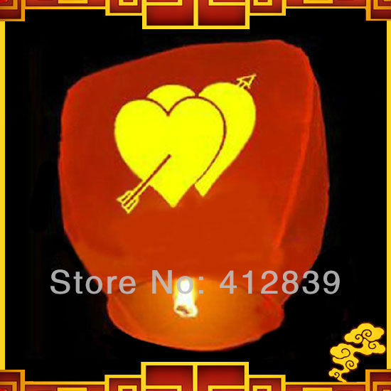 15pcs/lot Chinese sky lantern Oval shape wishing light UFO balloon with An arrow through a heart pattern