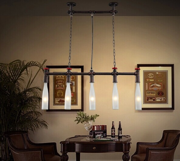 pipe wine bottle industrial pendant lamp with 5 lights for dining room
