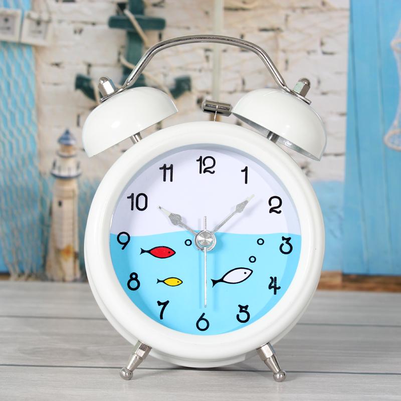 Creative desk Mediterranean fish Nordic metal bell alarm clock bedside lazy creative nightlights sit mute clocks free shipping(China (Mainland))