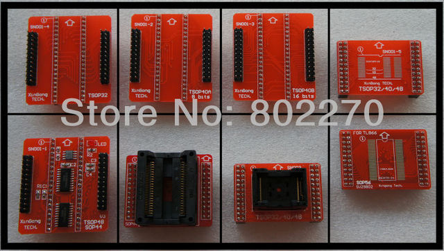total 8 red adapters TSOP32/40/48 PSOP44 SOP56 adapter for TL866CS/TL866A programmer support 29F800/LV800 39VF800 AM29BL802/162