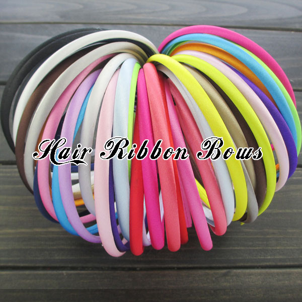 120pcs/lot 7mm Satin Covered Resin Headbands Infant Elastic Hairbands Hair Accessories Babies Hair Ornament