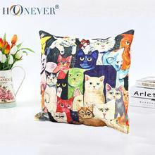 Retro Cat Linen Cushion Cover,Throw Pillows