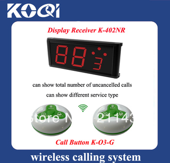 Wireless service waiter remote call bell system of 1pc LED pager display K-402NR and 20pcs Green buzzers of coffee DHL free ship