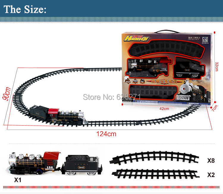 Classic Toys for children Electric Rail Car Railway Vehicles with Sound&Light&Smoking Electric car with Railway for Christmas