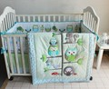 Promotion 4PCS Embroidery owl Cartoon Baby Crib Bedding Set Boys Girls include bumper duvet bed cover
