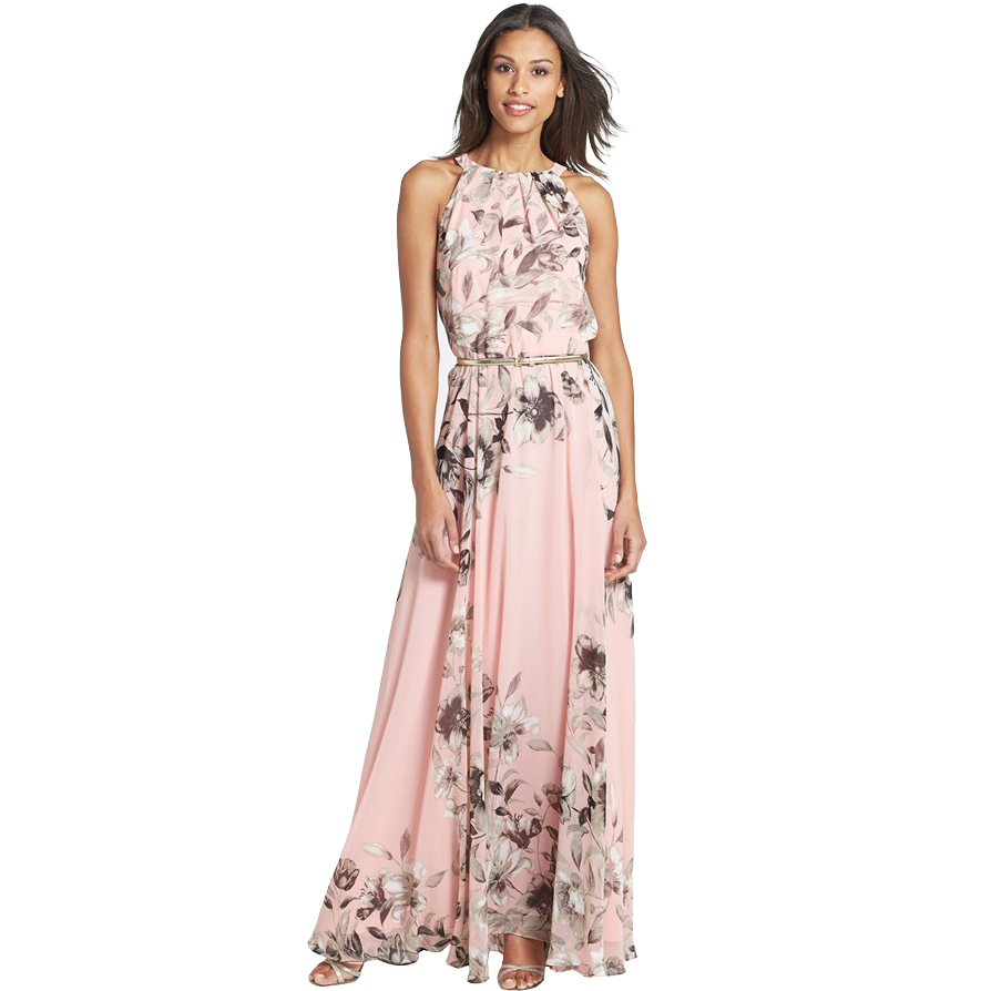 Chiffon Women Long Dress 2015 Fashion European Style Summer Vestido Party Evening Elegant Floral Print Maxi Dresses(China (Mainland))
