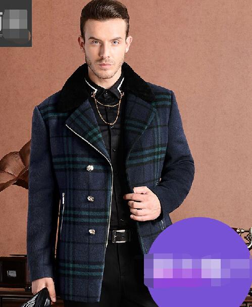 Size men's clothing wool coat Large code men's fur coat plus fat plus large men's high - grade wool coat Free Shipping(China (Mainland))